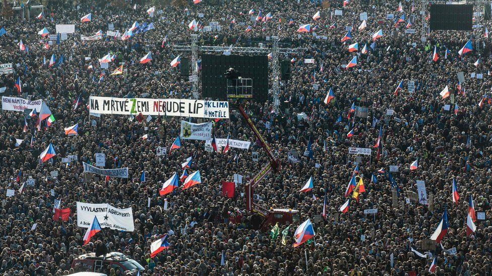 Crowds of people at Letna Park