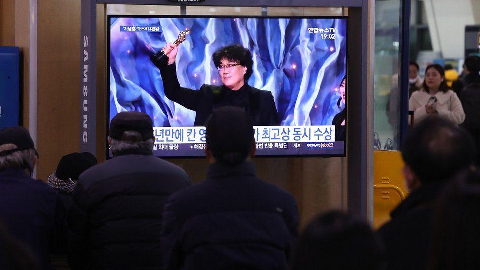 A tv screen in South Korea shows director Bong Joon-ho