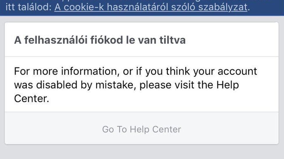 A message to a Hungarian Facebook user who has had their account disabled