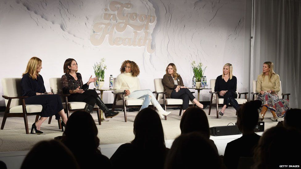 Gwyneth Paltrow (far right) during a panel of In Goop Health, her alternative health conference