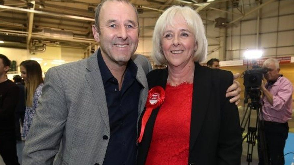 Ruth Jones with her husband David after her win