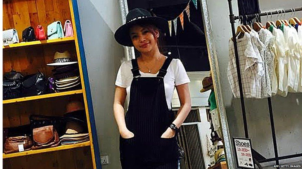 This undated handout photo released to AFP on July 16, 2015 shows popular Cambodian television star Ek Socheata, better known by her stage name SaSa, posing at a shop in Phnom Penh.