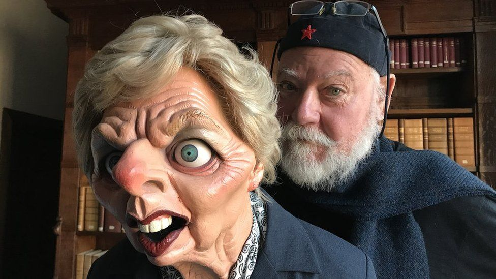 Roger Law and the Spitting Image puppet of Margaret Thatcher