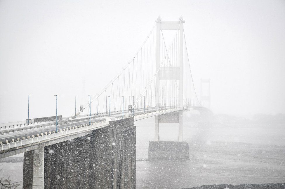The Severn Bridge in the snow
