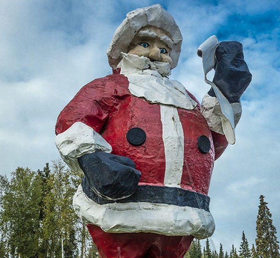 A huge statue of Father Christmas