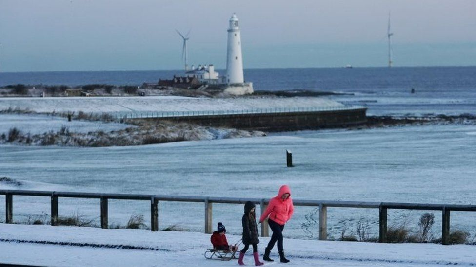 Snow on the coast at Whitley Bay, Tyne and Wear