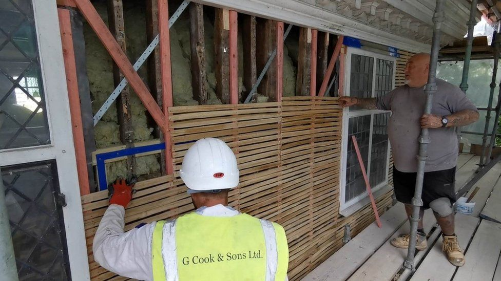 Nigel Davies (right in photo) is Master Plasterer for G Cook and Sons Ltd and relished the opportunity to work on the historic Unitarian Meeting House