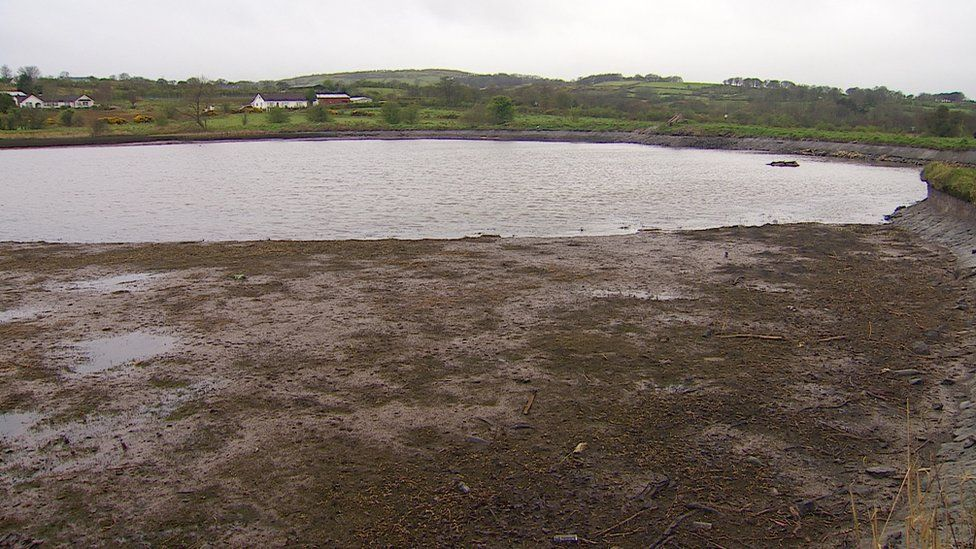 Mud flats were exposed when owner of Hydepark Dam drained much of the water last week