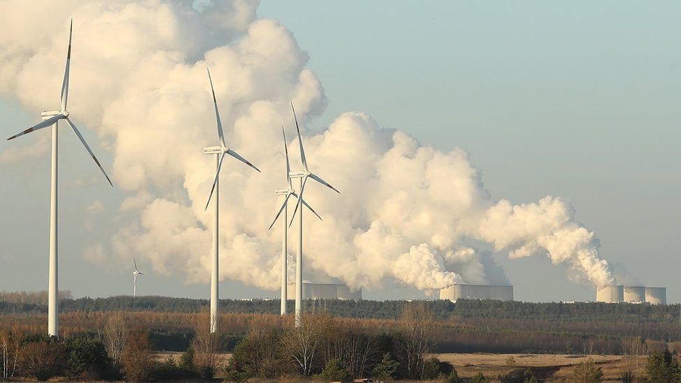 Wind turbines and a power station