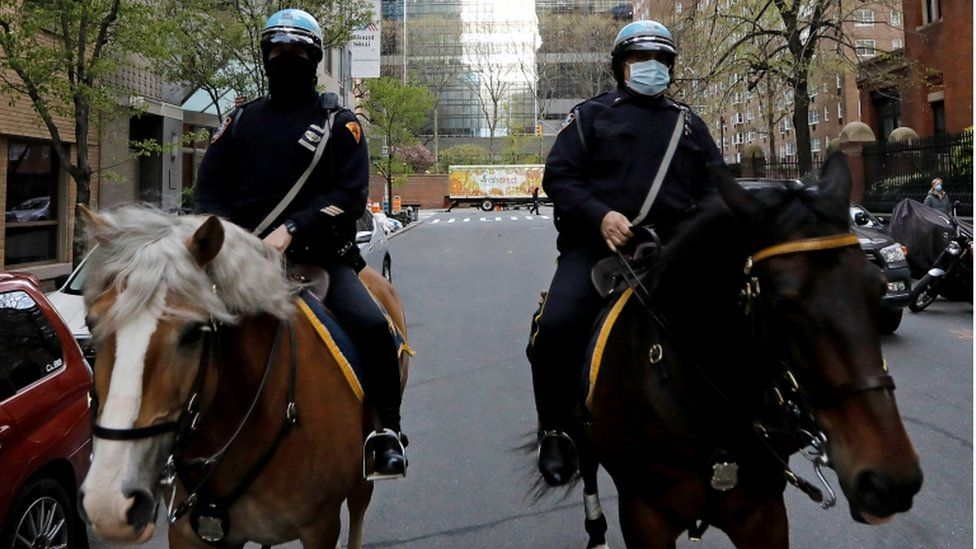 New York City mounted police patrol in New York, USA, 16 March 2020