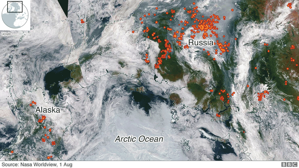 Satellite image showing wildfires across the Arctic