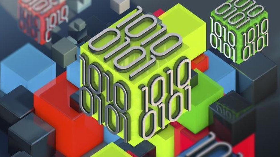 Blocks of binary code data, illustration