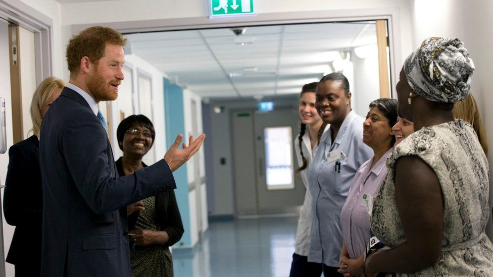 Prince Harry visit to Mildmay Hospital on 14 December 2015