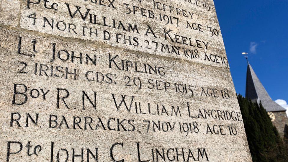 War memorial with name of Lt John Kipling, son of Rudyard Kipling, Burwash, East Sussex