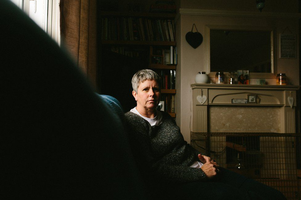 Jackie Cheetham, sits at home in Pickering, North Yorkshire