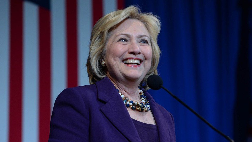 Hillary Clinton smiles during a speech in New Hampshire.