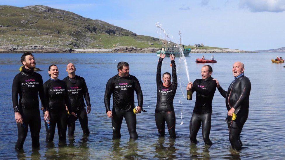 End of St Kilda to Harris swim