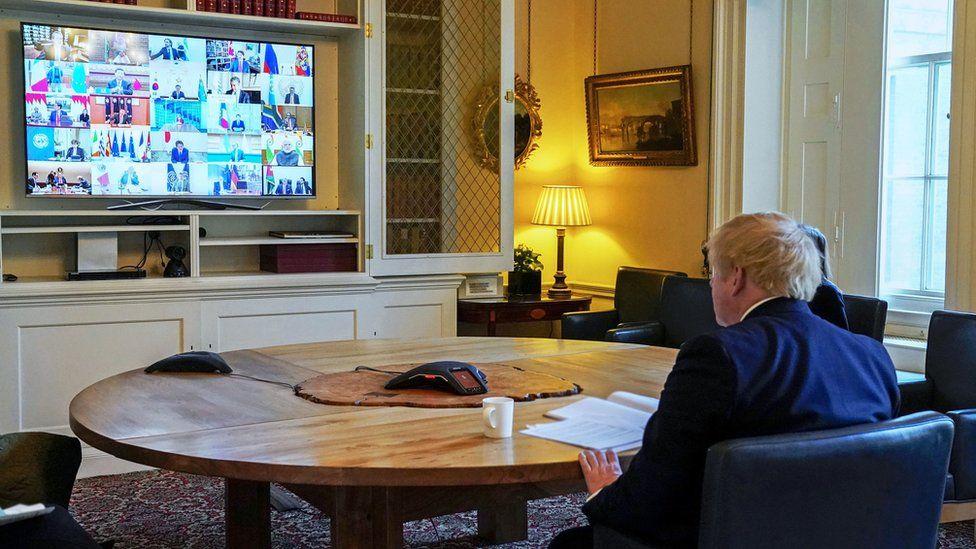 Boris Johnson on Zoom call