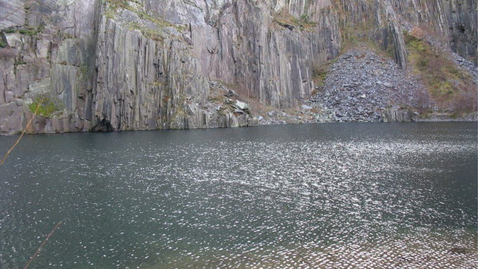 One of the pools at the disused Glyn Rhonwy quarry