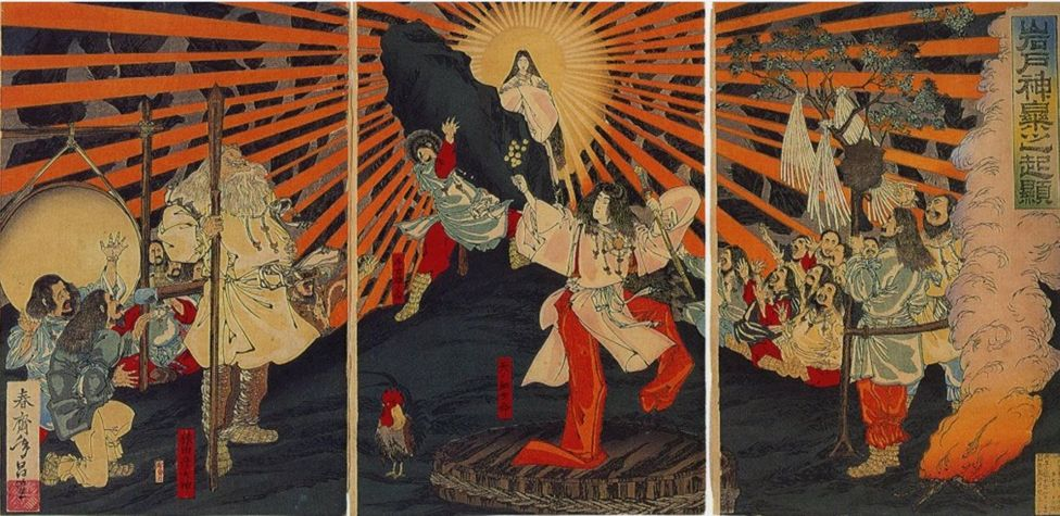 Amaterasu emerging from her cave , Japanese woodcut