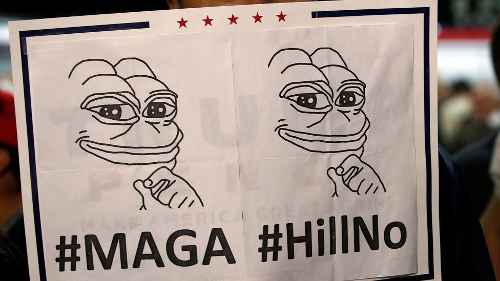 Trump supporter with Pepe sign