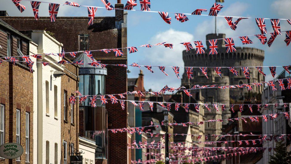 Bunting in front of Windsor Castle ahead of the royal wedding