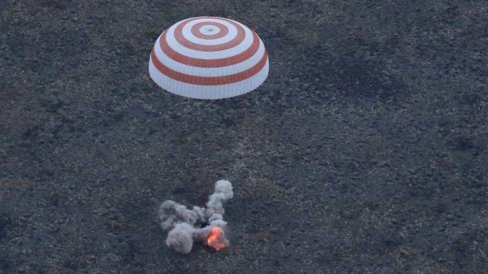 Soyuz spacecraft landing - 12 September 2015