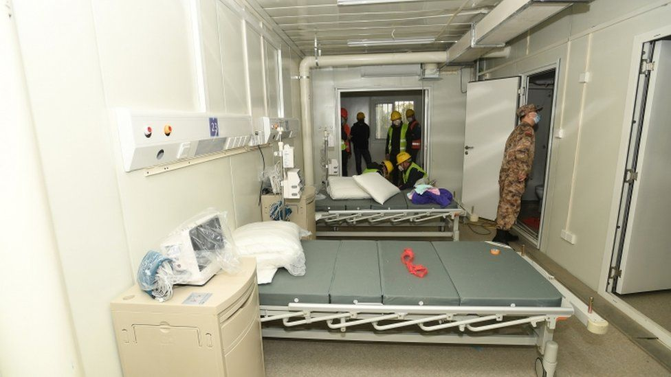 Military medical staff inspect rooms at new hospital - 2 February