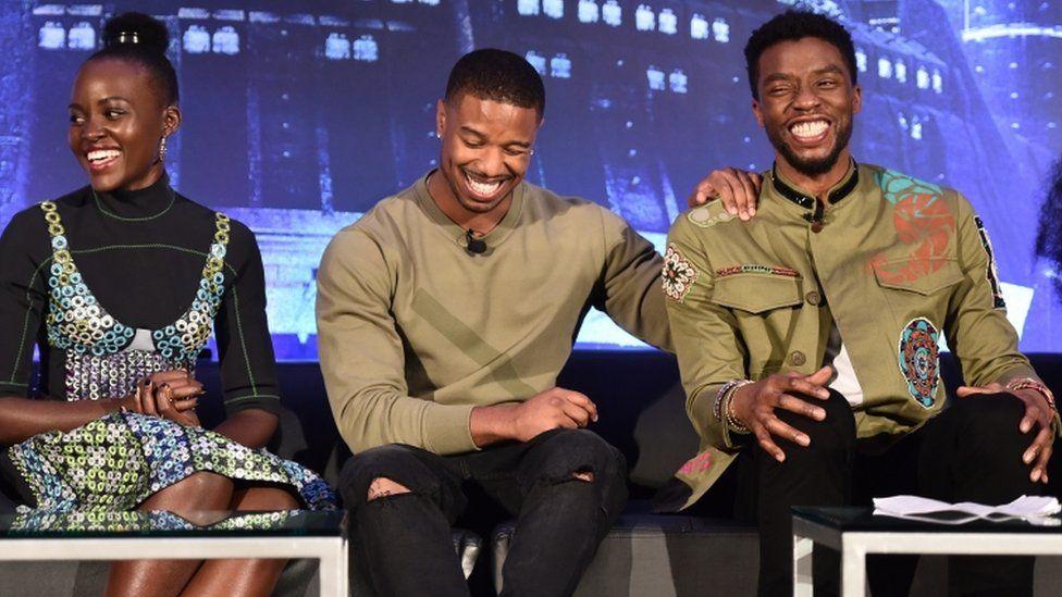 Actors Lupita Nyong'o, Michael B. Jordan, and Chadwick Boseman at a Black Panther press junket