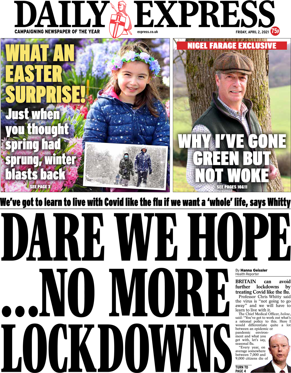The Daily Express front page 2 April 2021