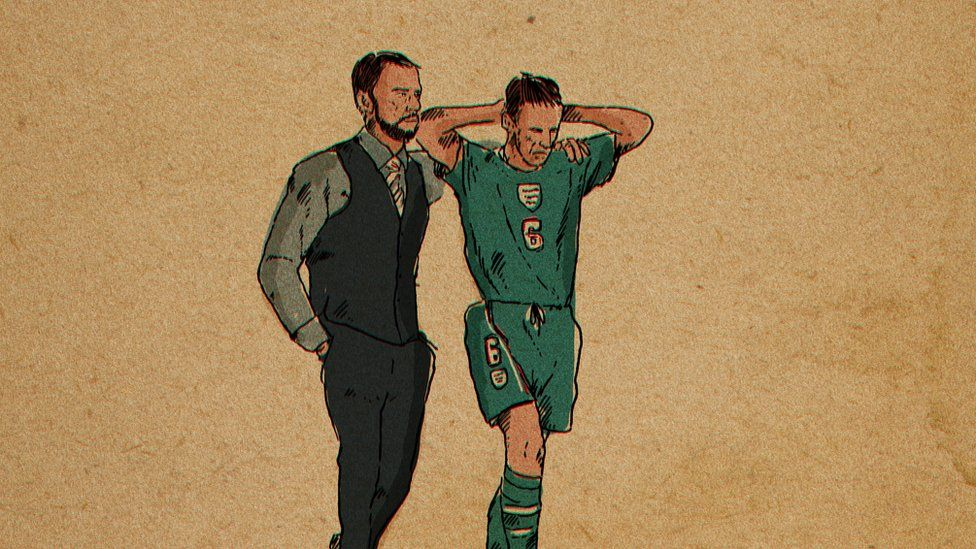 Gareth Southgate consoles an image of himself from Euro 96