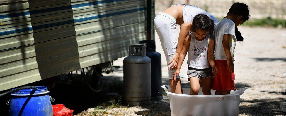 The River Village Roma camp near Rome in June, weeks before it was cleared by police