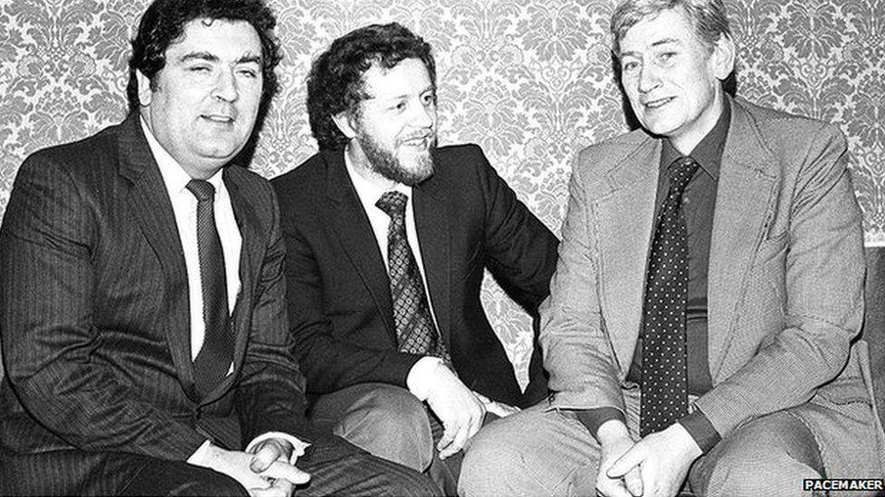 John Hume, Sean Farren and Seamus Mallon pictured at the SDLP conference in 1983