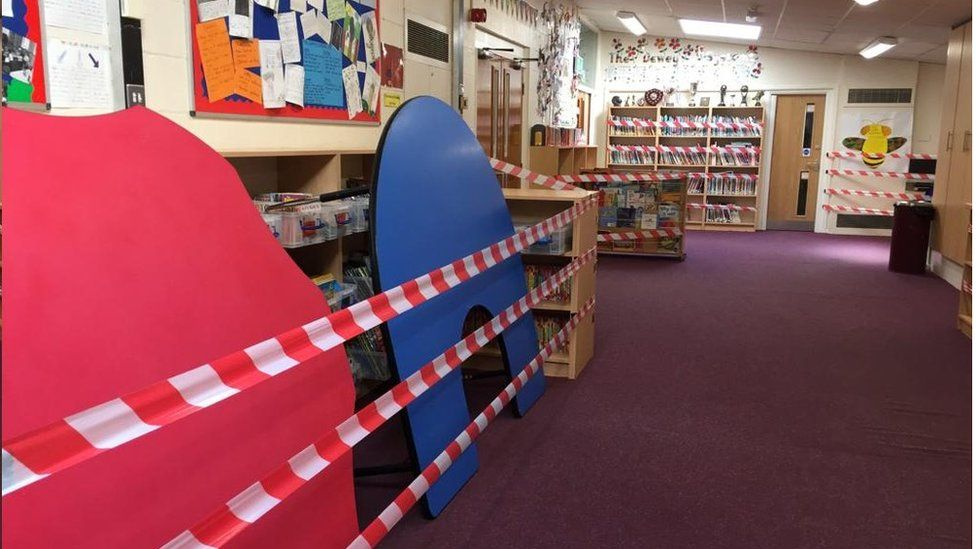 Taped off library books, St Margaret's C of E Primary School, Bury