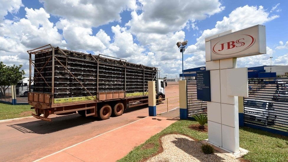 A truck loaded with chickens arrives at JBS-Friboi chicken processing plant, in Samambaia, Federal District, Brazil on March 17, 2017