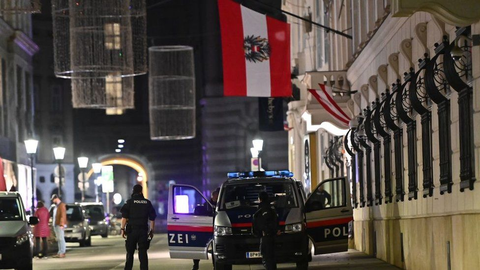 Armed police stand guard outside the Interior Ministry in the centre of Vienna on November 2, 2020