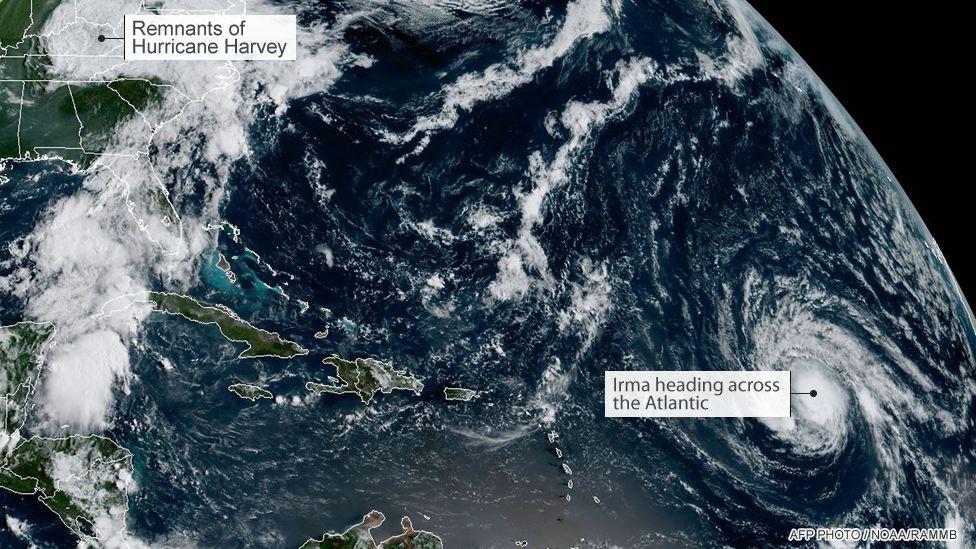Satellite image of Hurricanes Harvey and Irma