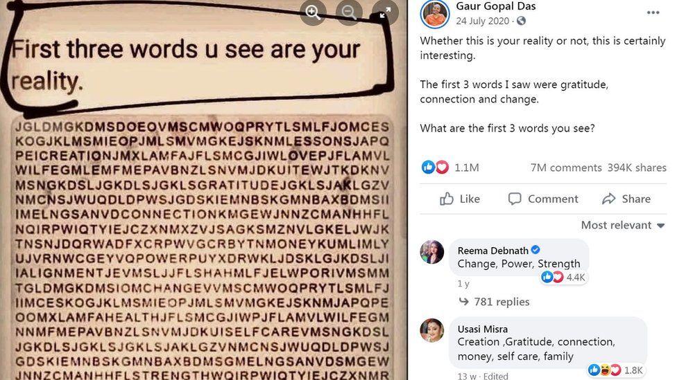 Une publication Facebook montrant une recherche de mots