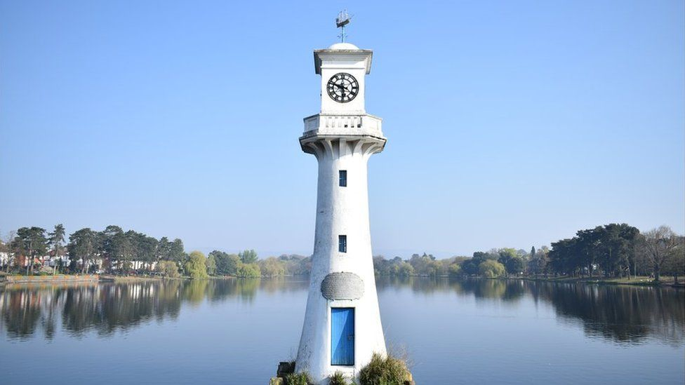 The Lighthouse at Roath Park lake in Cardiff