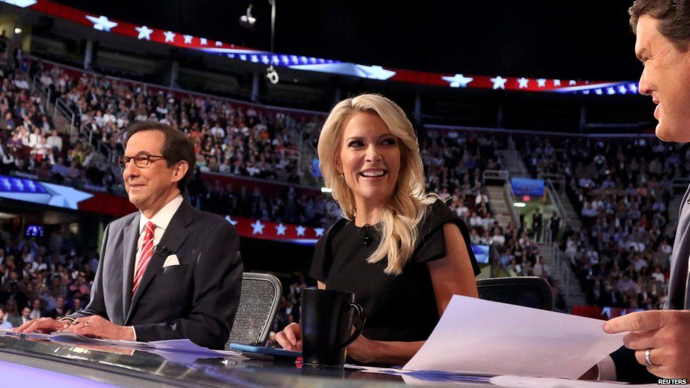 Megyn Kelly and other moderators at the presidential debate on 6 August 2015