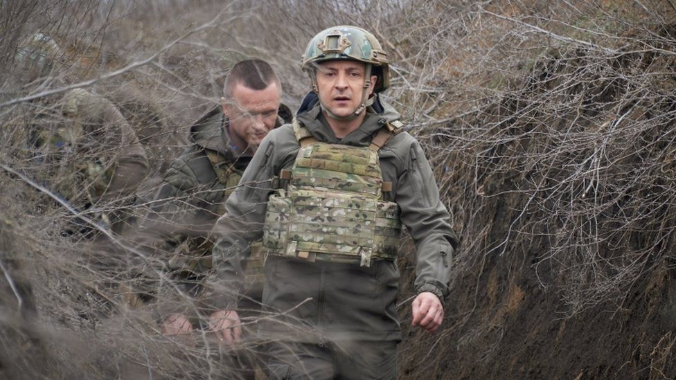 Ukrainian President Volodymyr Zelensky on a working visit to the eastern Ukrainian conflict zone, 09 April 2021