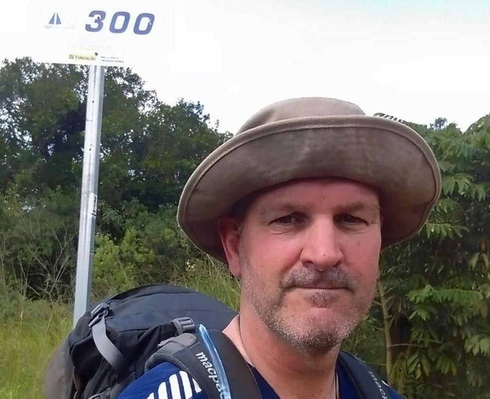 Bob Walker mid-point in his pilgrimage