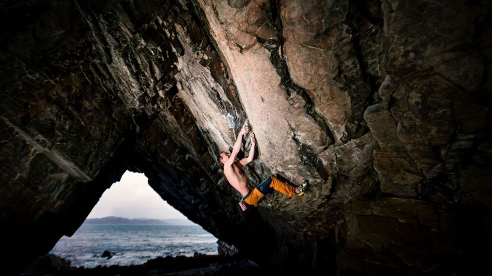 Dave Macleod climbing in Arisaig Cave