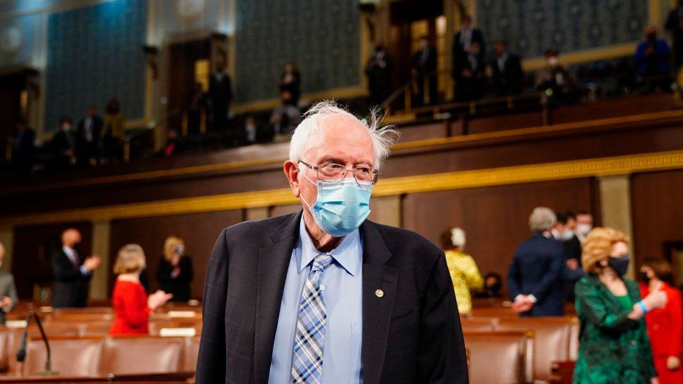 Sen Bernie Sanders (I-VT) arrives before President Joe Biden addresses a joint session of Congress in the House chamber of the U.S. Capitol April 28