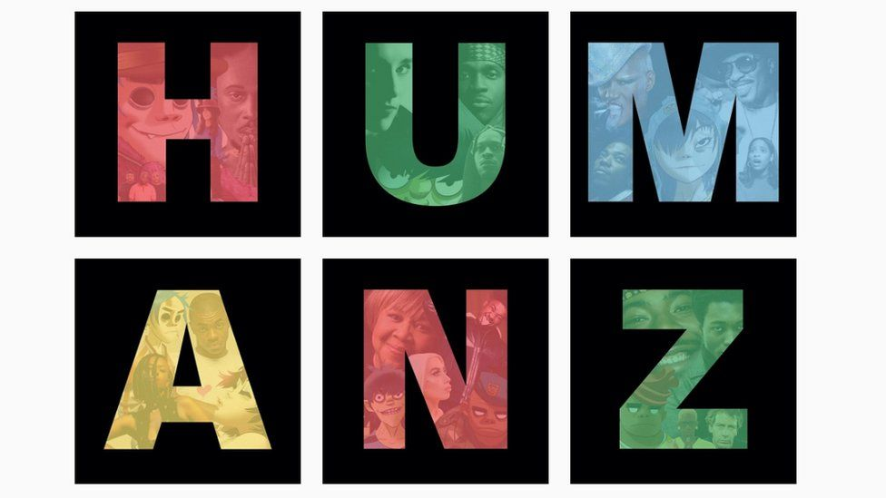Screen shot of the Gorillaz' Instagram, revealing the new album name, Humanz, and its guest stars