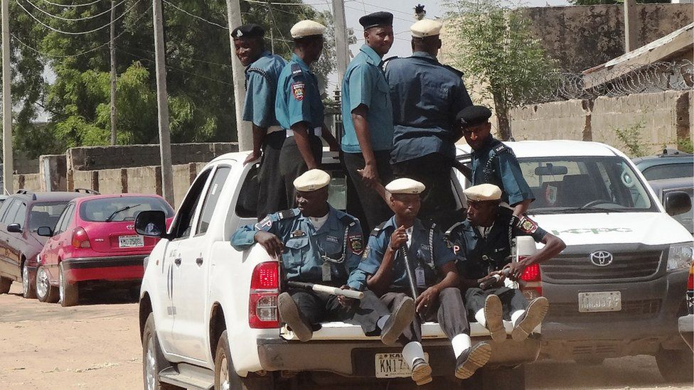 Islamic sharia enforcers called Hisbah on patrol in the northern Nigerian city of Kano