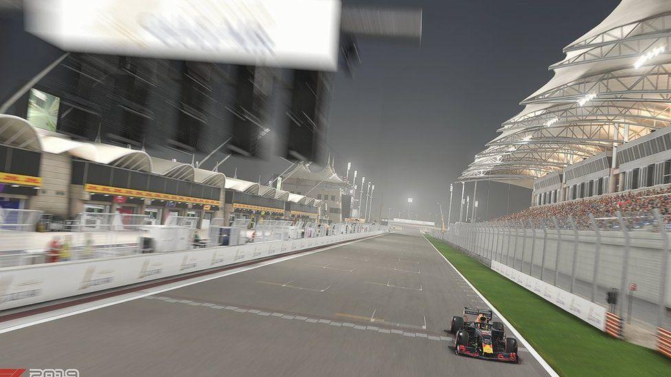 Aston Martin's Red Bull car in virtual race