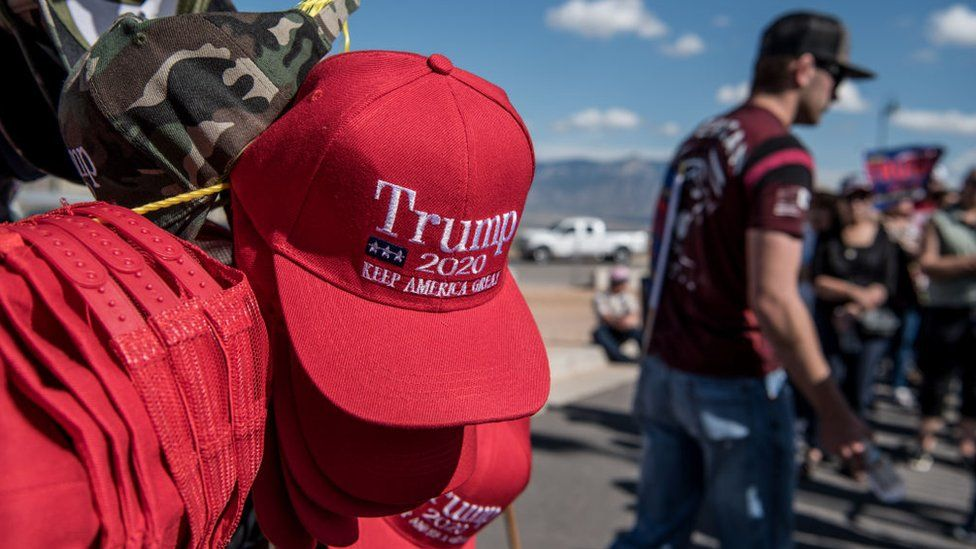 Donald Trump merchandise sold outside his rally in New Mexico