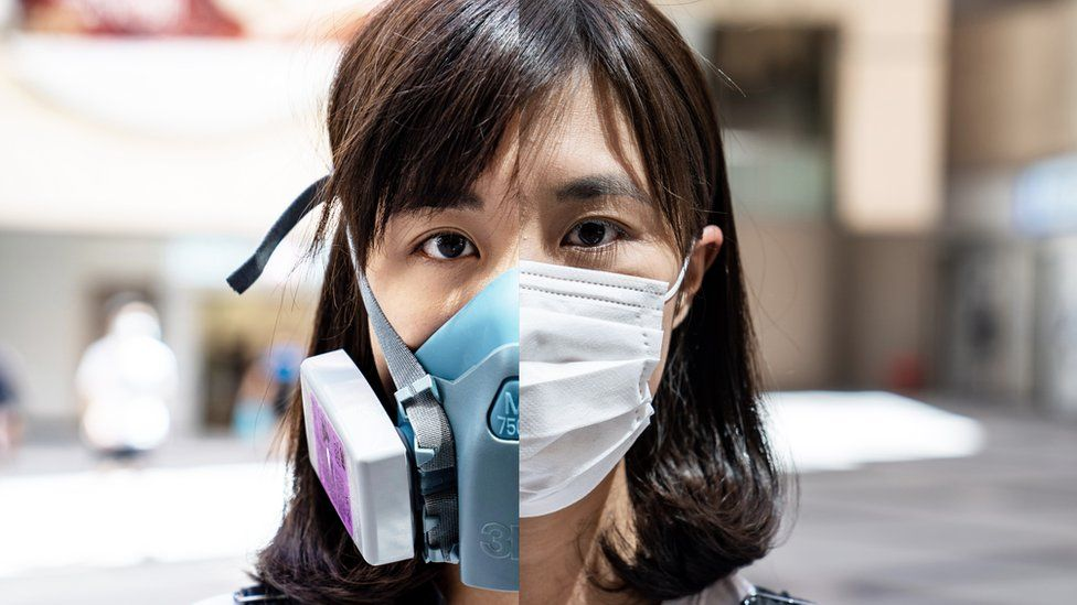 Alice Cheung in two masks