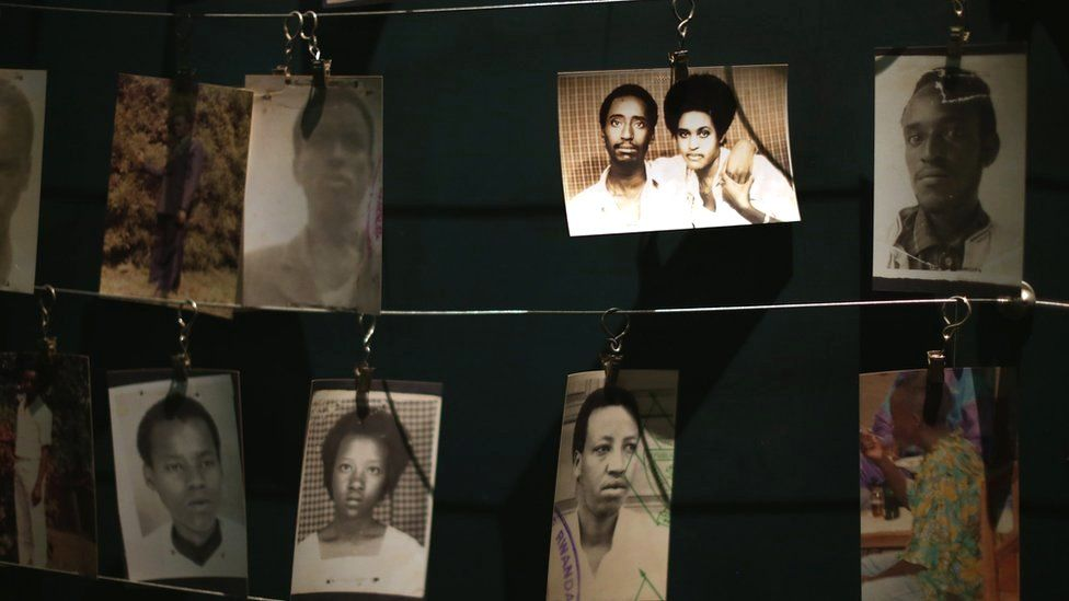 Photos of victims of the Rwandan genocide